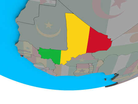 Mali with embedded national flag on simple political 3D globe. 3D illustration.