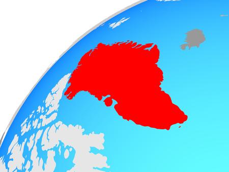 Greenland on globe. 3D illustration. Stockfoto