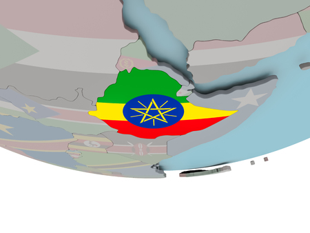 3D illustration of Ethiopia with embedded flag on political globe. 3D render.