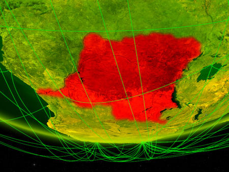 Dem Rep of Congo on green model of planet Earth with network representing digital age, travel and communication. 3D illustration.