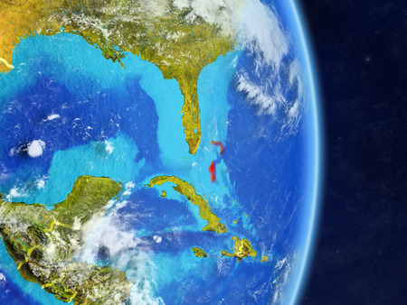 Bahamas on planet planet Earth with country borders. Extremely detailed planet surface and clouds. 3D illustration. Stock Photo