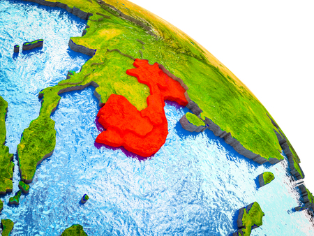 Indochina Highlighted on 3D Earth model with water and visible country borders. 3D illustration. Reklamní fotografie