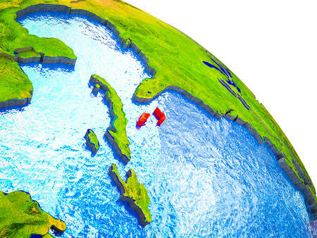 Bahamas Highlighted on 3D Earth model with water and visible country borders. 3D illustration. Stock Photo