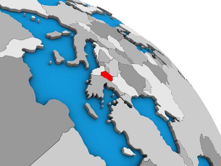 Macedonia on simple blue political 3D globe. 3D illustration. Stockfoto