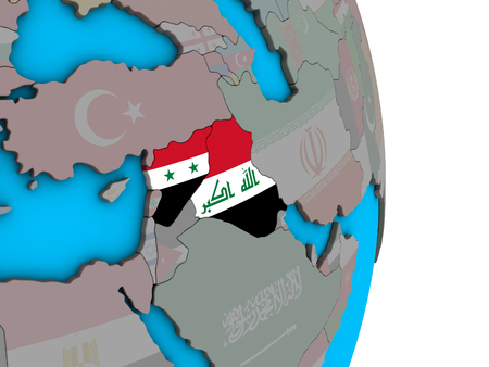 Islamic State with embedded national flags on simple political 3D globe. 3D illustration.