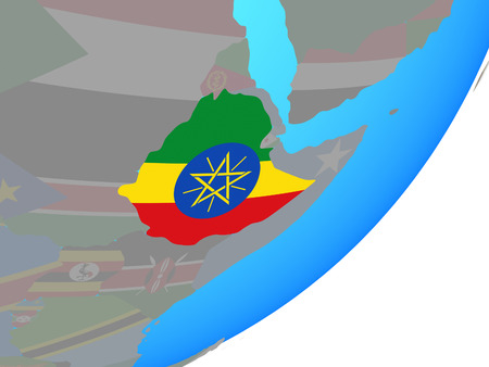 Ethiopia with embedded national flag on blue political globe. 3D illustration. Stockfoto