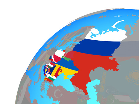 Eastern Europe with embedded national flags on globe. 3D illustration.