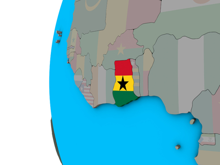 Ghana with national flag on blue political 3D globe. 3D illustration. 스톡 콘텐츠