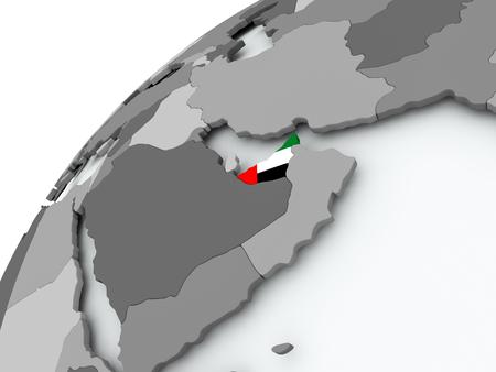 United Arab Emirates with embedded flag on globe. 3D illustration.