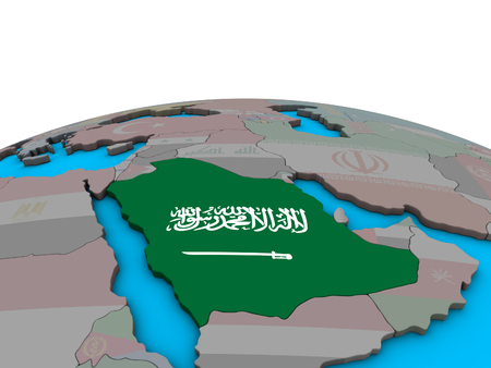 Saudi Arabia with embedded national flag on political 3D globe. 3D illustration.