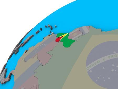 Guyana with national flag on 3D globe. 3D illustration.