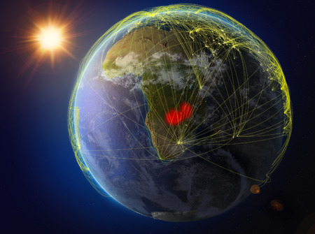 Zambia from space. Planet Earth with network representing international communication, technology and travel. 3D illustration.