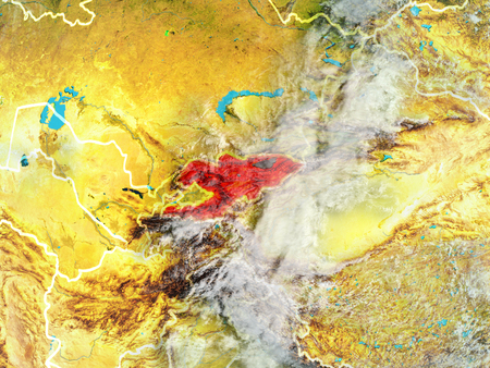 Kyrgyzstan from space on model of planet Earth with country borders. Extremely fine detail of planet surface and clouds. 3D illustration.