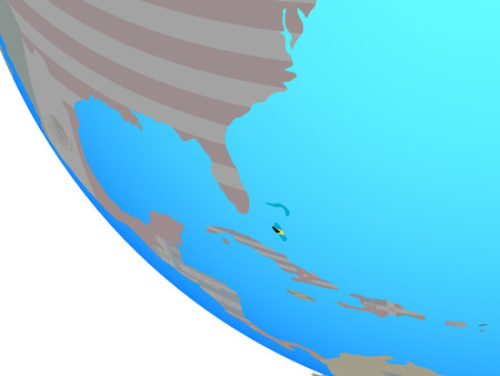 Bahamas with national flag on simple globe. 3D illustration.