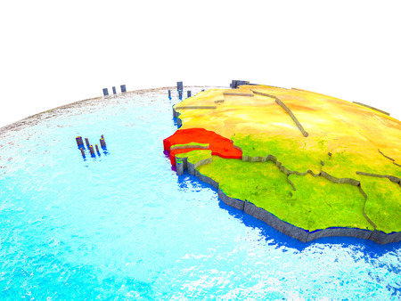 Senegal on 3D Earth with visible countries and blue oceans with waves. 3D illustration. Stock Photo