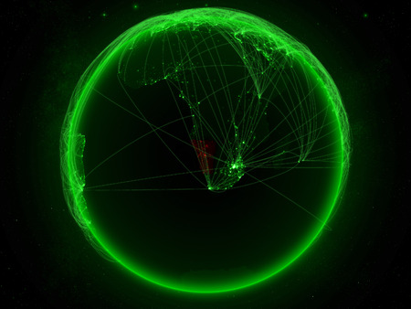 Namibia from space on planet Earth with green network representing international communication, technology and travel. 3D illustration.