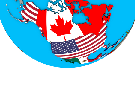 North America with embedded national flags on simple political 3D globe. 3D illustration.
