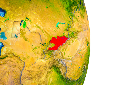 Kyrgyzstan on 3D model of Earth with divided countries and blue oceans. 3D illustration.
