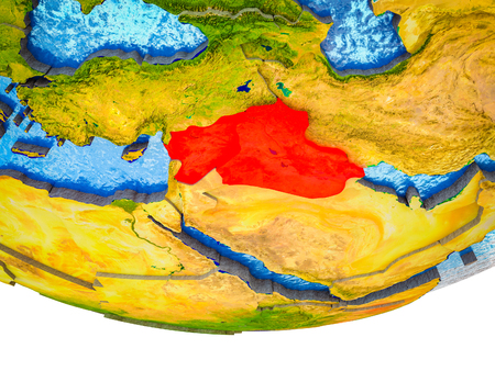 Islamic State on 3D Earth with divided countries and watery oceans. 3D illustration. Banco de Imagens