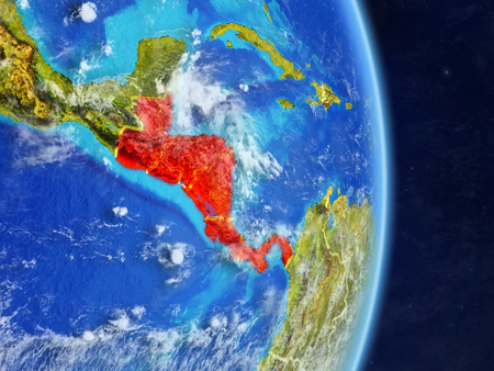 Central America on planet planet Earth with country borders. Extremely detailed planet surface and clouds. 3D illustration. Imagens