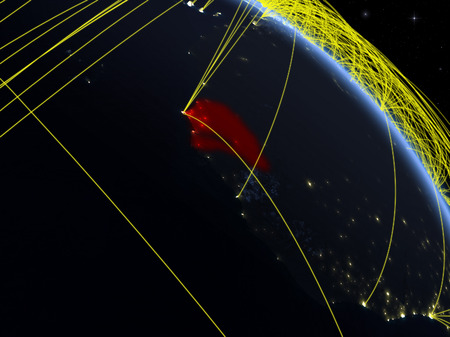 Senegal from space on model of planet Earth at night with network. Concept of digital technology, connectivity and travel. 3D illustration.