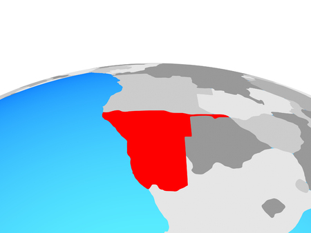 Namibia on political globe. 3D illustration.