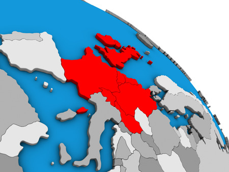 Western Europe on simple blue political 3D globe. 3D illustration. Banco de Imagens