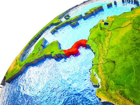 Panama on 3D Earth model with visible country borders. 3D illustration. 写真素材