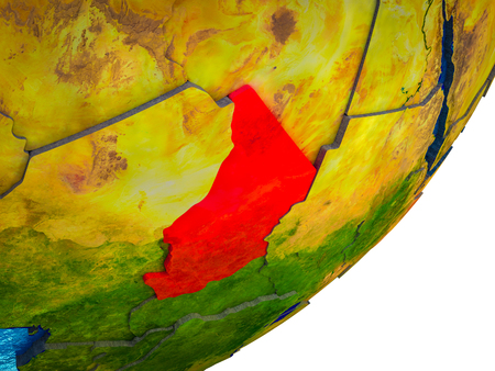 Chad on 3D model of Earth with water and divided countries. 3D illustration. Фото со стока