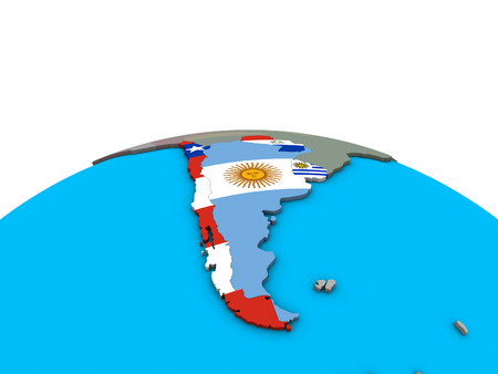 Southern Cone with embedded national flags on political 3D globe. 3D illustration.
