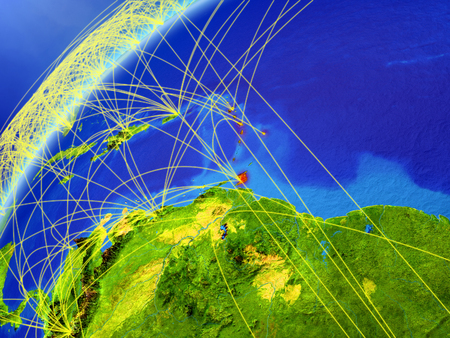 Caribbean on model of planet Earth with international networks. Concept of digital communication and technology. 3D illustration.