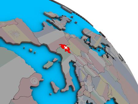 Switzerland with embedded national flag on simple blue political 3D globe. 3D illustration. Banque d'images - 113587198
