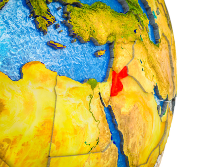 Jordan on 3D model of Earth with divided countries and blue oceans. 3D illustration. Stockfoto