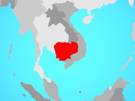 Cambodia on blue political globe. 3D illustration. Stock Photo