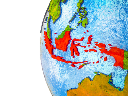 Indonesia highlighted on 3D Earth with visible countries and watery oceans. 3D illustration.