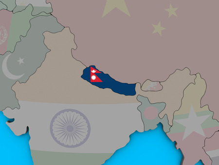 Nepal with embedded national flag on blue political 3D globe. 3D illustration. Фото со стока
