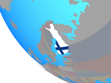 Finland with national flag on simple globe. 3D illustration.