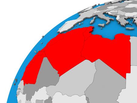 Maghreb region on 3D globe. 3D illustration.