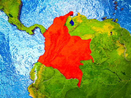 Colombia on model of 3D Earth with blue oceans and divided countries. 3D illustration. Reklamní fotografie - 113589844