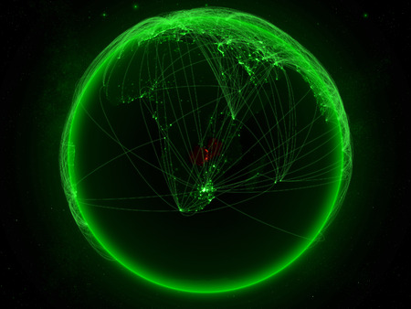 Zambia from space on planet Earth with green network representing international communication, technology and travel. 3D illustration. Stock Photo