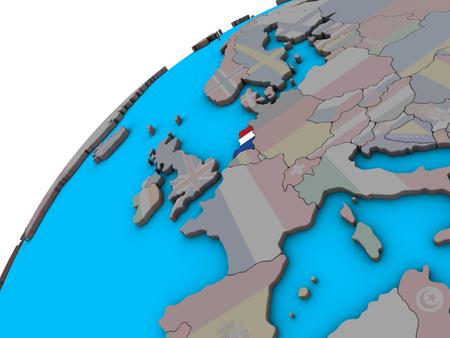 Netherlands with national flag on 3D globe. 3D illustration.