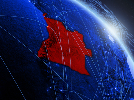 Angola from space on model of blue digital planet Earth. Concept of blue digital technology, connectivity and travel. 3D illustration. Stock Photo