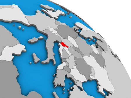 Slovenia on simple blue political 3D globe. 3D illustration.