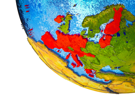 Eurozone member states on model of Earth with country borders and blue oceans with waves. 3D illustration. Stock Photo