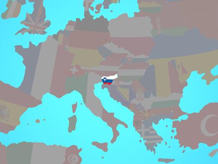 Slovenia with national flag on blue political globe. 3D illustration. Stok Fotoğraf