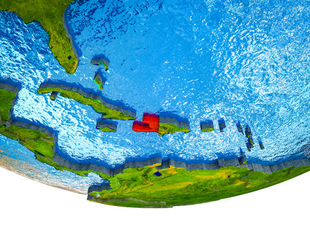Haiti on 3D Earth with divided countries and watery oceans. 3D illustration.