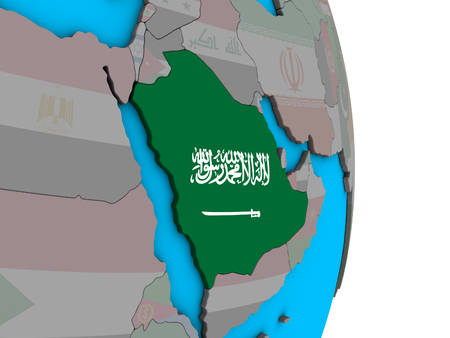 Saudi Arabia with embedded national flag on simple political 3D globe. 3D illustration.
