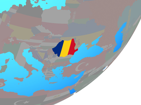 Romania with embedded national flag on blue political globe. 3D illustration. Stock Photo