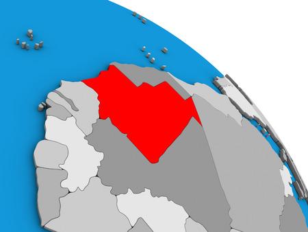 Mauritania on simple blue political 3D globe. 3D illustration.