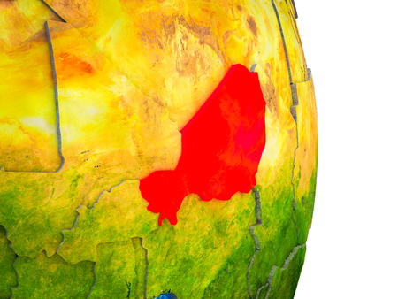 Niger on 3D model of Earth with divided countries and blue oceans. 3D illustration.